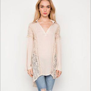 Mono B. Lace Back Bell Sleeves Tunic